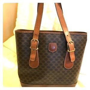 Vintage Céline Macadam & Leather Bag